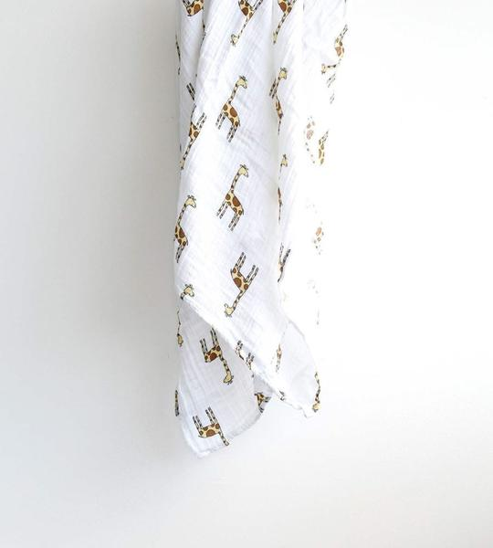 Organic Bamboo Baby Swaddle Wrap with giraffe print by You & Bamboo