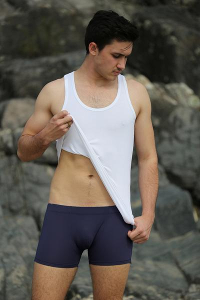 Men's Navy Bamboo Boxer Shorts