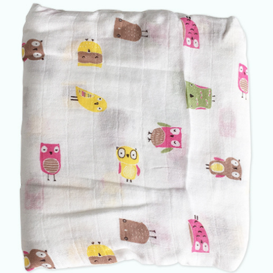 Organic Bamboo Baby Swaddle Warp with Hoot bird print by You & Bamboo