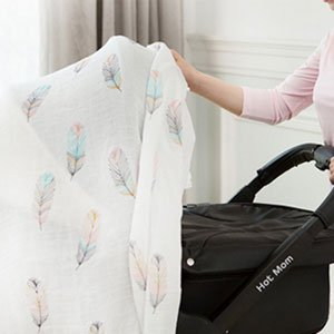 Bamboo Baby Wrap Muslin Swaddle with Feather Print by You & Bamboo